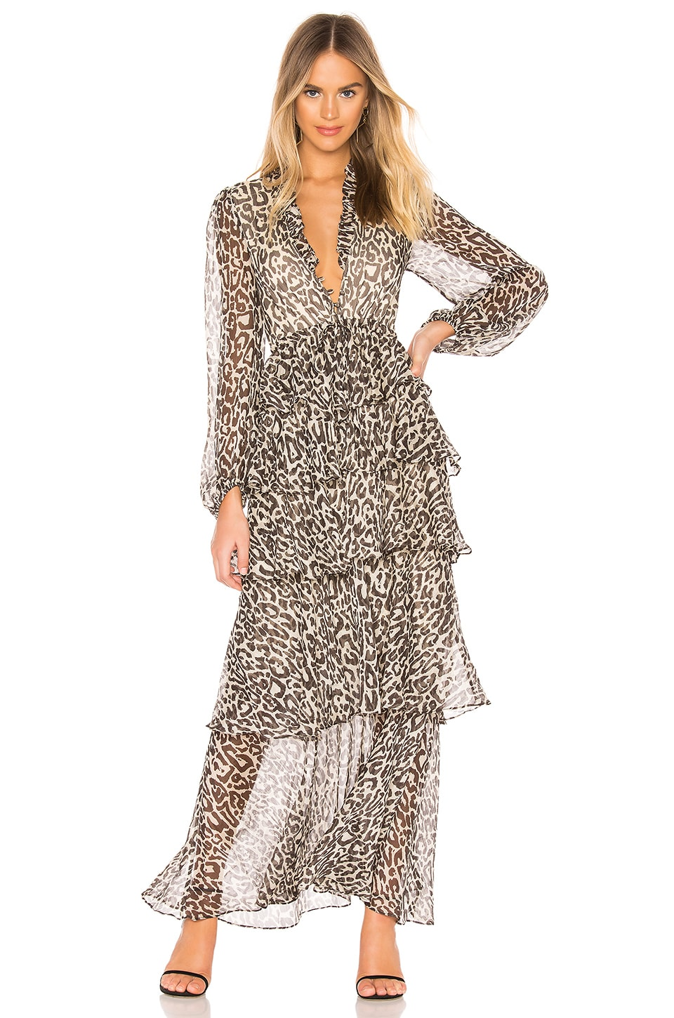 Shona Joy Mariposa Tiered Maxi Dress in Leopard