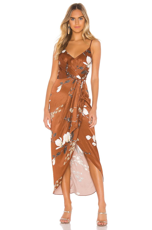 Shona Joy St Lucia Tie Front Draped Midi Dress in Tan Multi