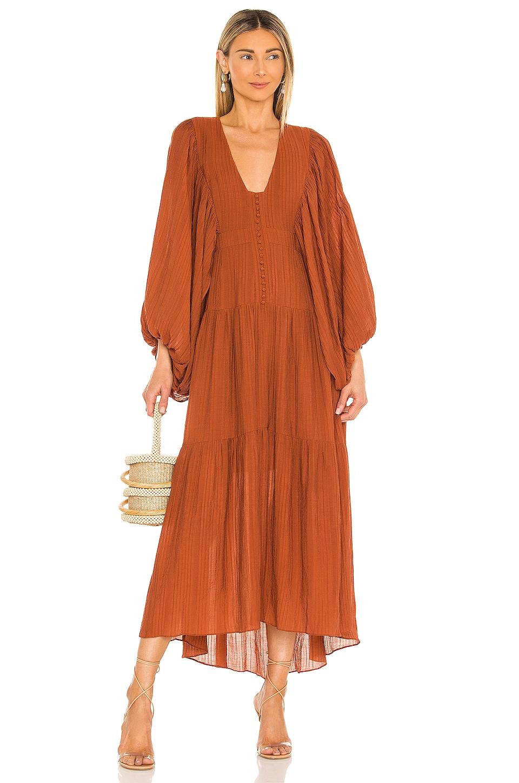 Shona Joy Mila Plunged Tiered Midi Dress in Paprika
