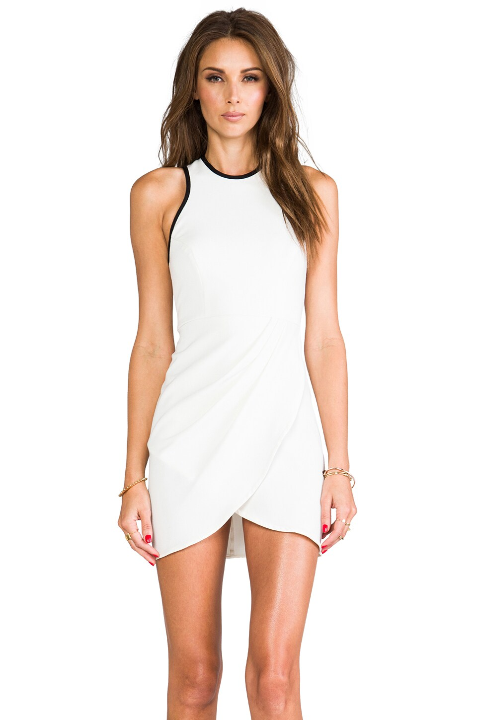 Shona Joy White Noise Draped Body Con Dress in Ivory/Black