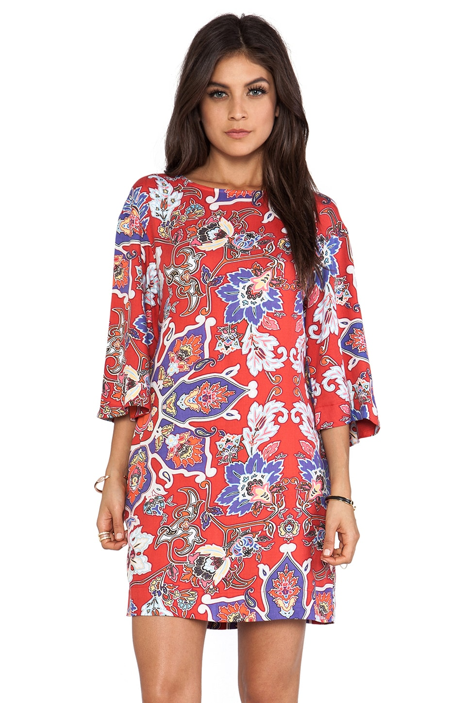 Shona Joy New Perspective Bell Sleeve Shift Dress in Multi