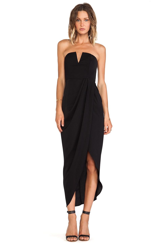 Shona Joy V Bustier Draped Midi Dress in Black