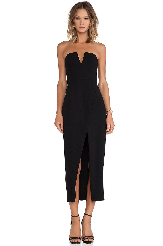 Shona Joy The Minimalist Bustier Cross Over Maxi Dress in Black