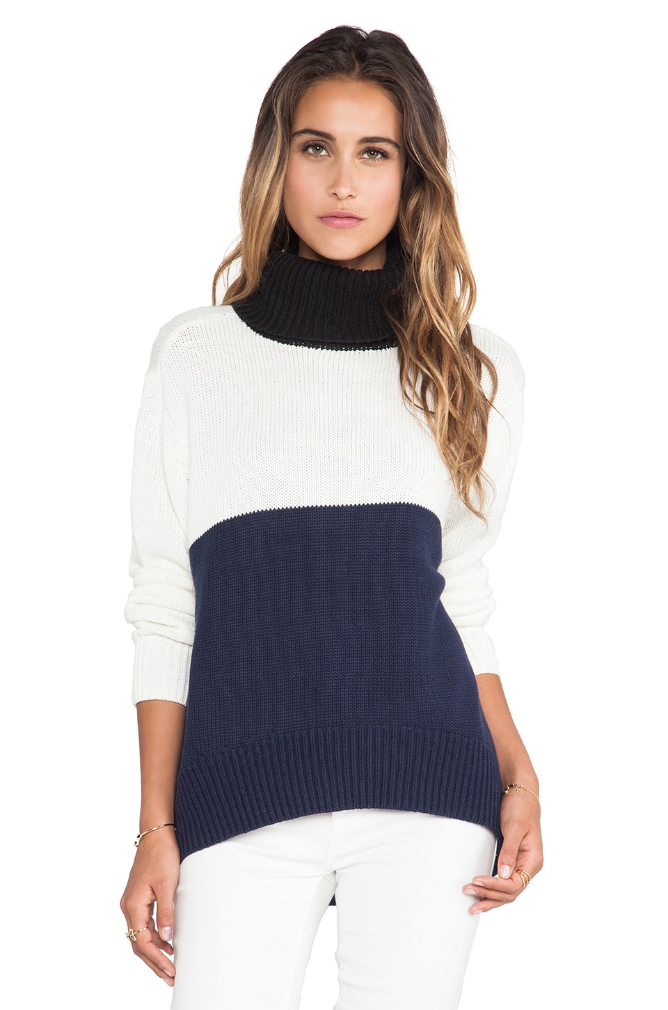 Shona Joy Bewildered Spliced Turtleneck in Navy & Multi