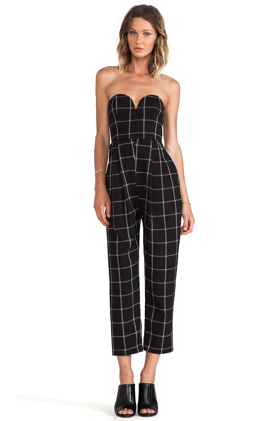 Shona Joy The Paralleled Bustier Jumpsuit in Check