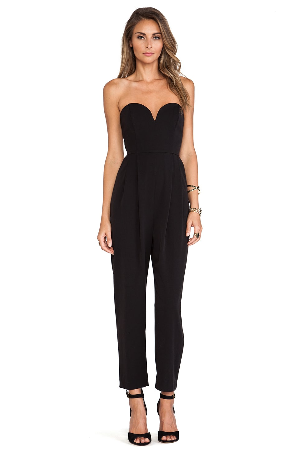 Shona Joy The Awakening Bustier Jumpsuit in Black