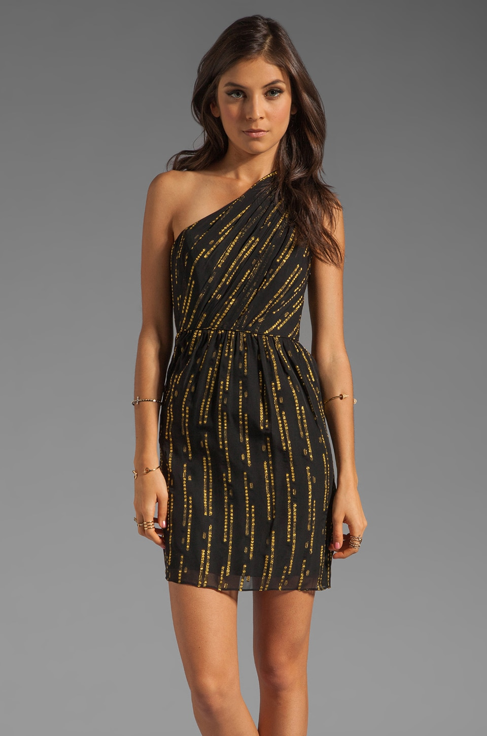 Shoshanna Brookline Lurex Chiffon Alexis Dress in Black/Gold