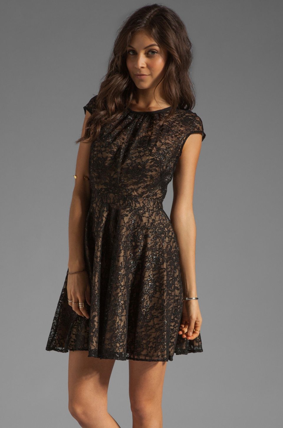 Shoshanna Floral Metallic Lace Heidi Dress in Black