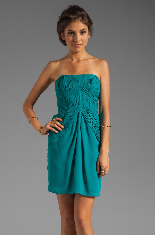 Shoshanna Aquamarine Silk Nahla Dress in Aquamarine