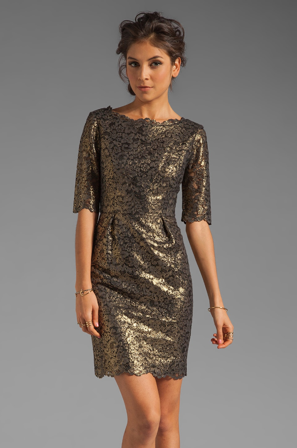 Shoshanna Metallic Guipure Lace Minka Dress in Gold/Black