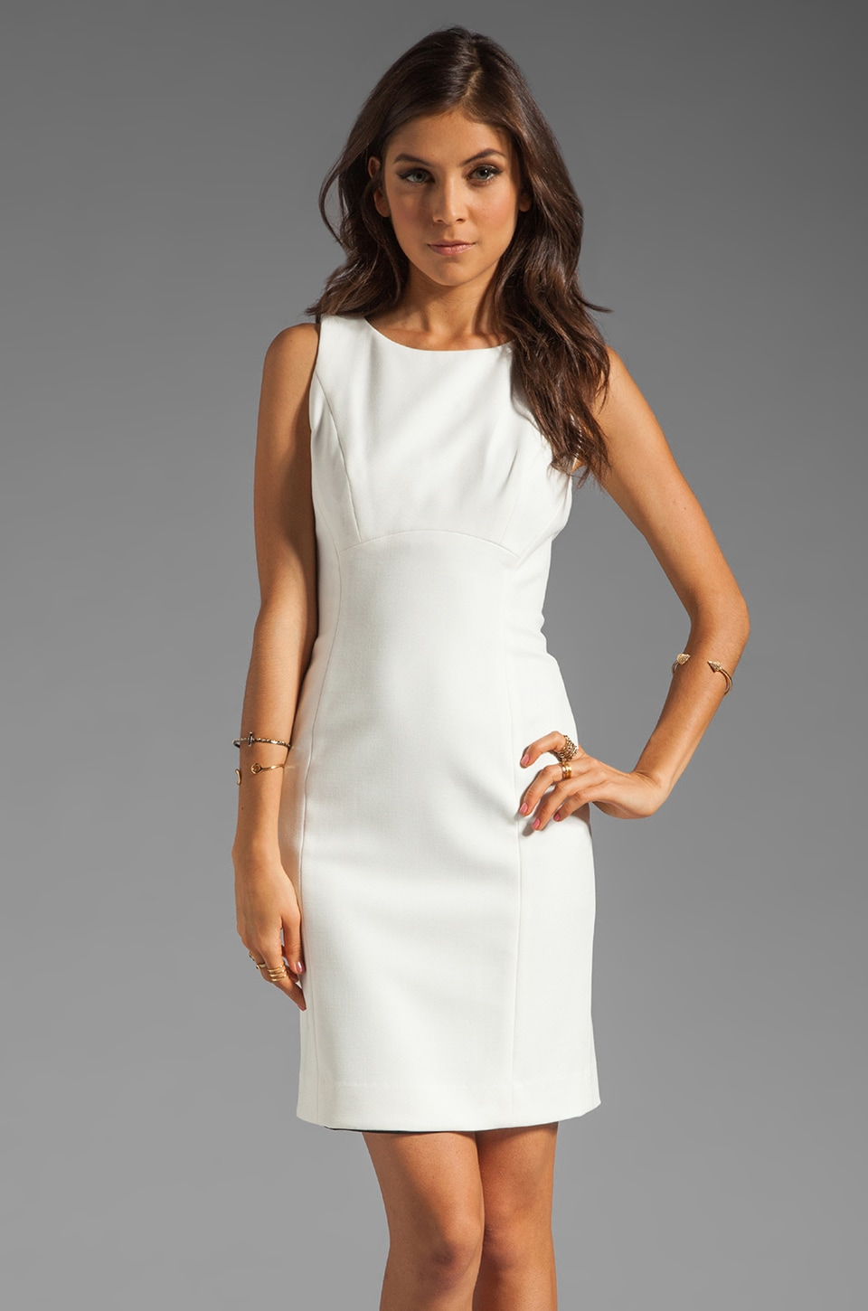 Shoshanna Double Crepe 2 Diana Dress in Winter White