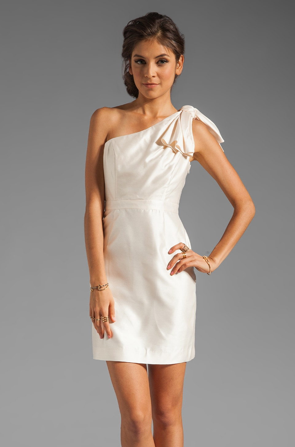 Shoshanna Silk Gazar 2 Amber Dress in Winter White