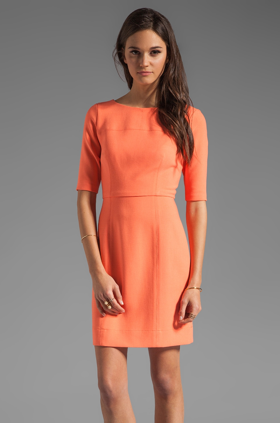 Shoshanna Delfina Dress in Neon Coral