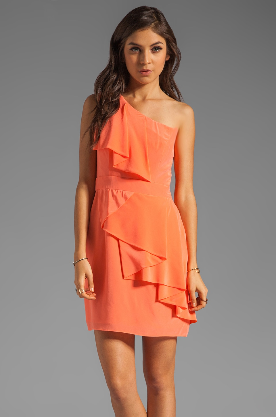 Shoshanna Sadie Dress in Neon Coral