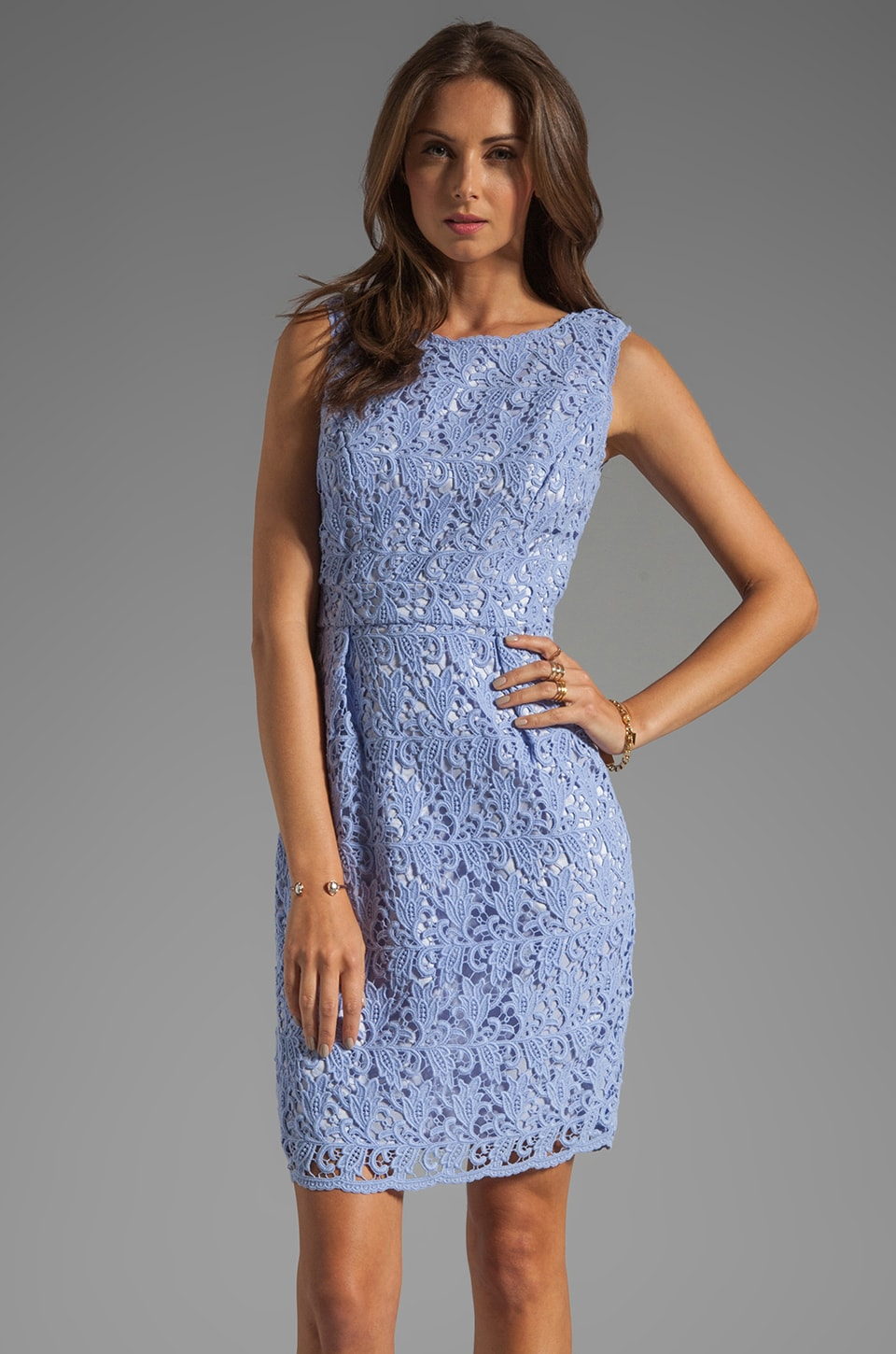 Shoshanna Lace Nyla Sheath Dress in Lavender