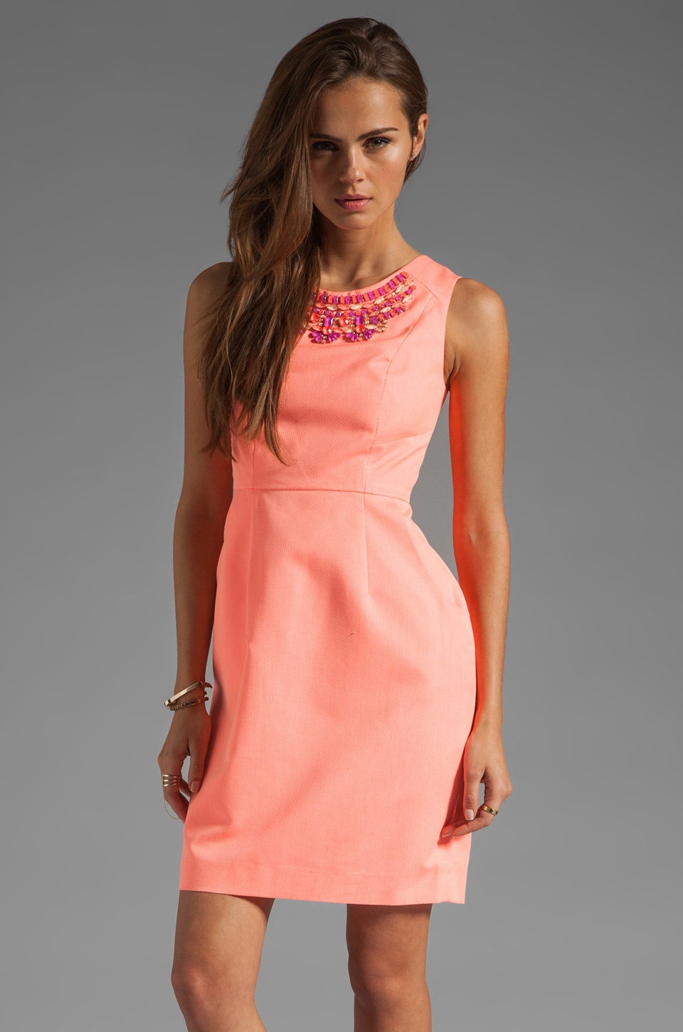 Shoshanna Beaded Miki Sheath Dress in Neon Peach