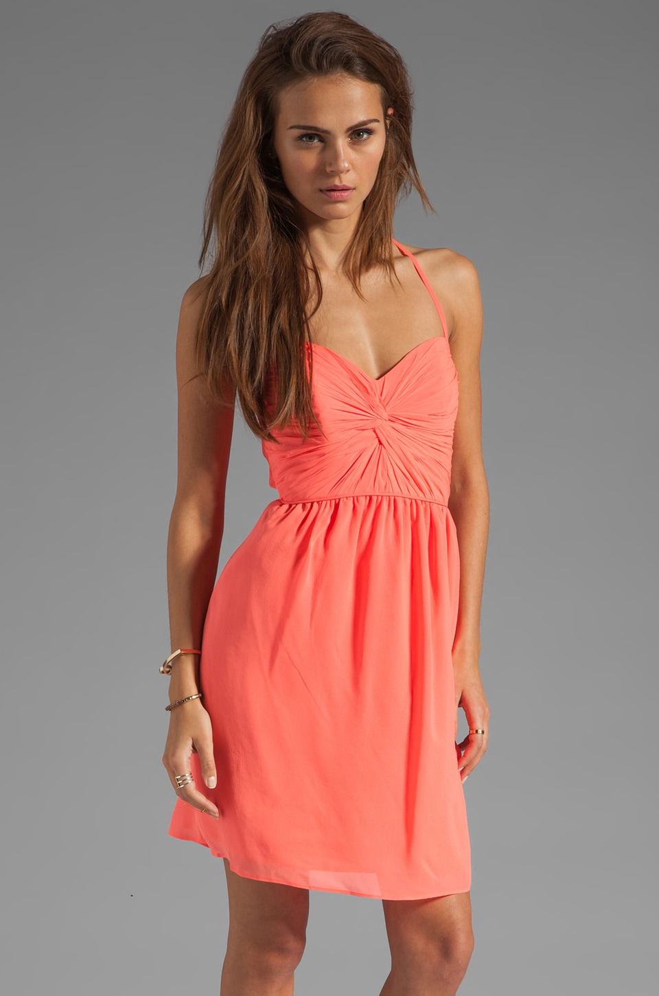 Shoshanna Carine Dress in Neon Peach