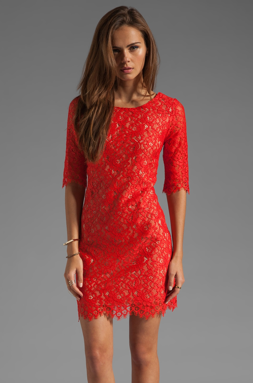 Shoshanna Lace Lisa Shift Dress in Rhubarb