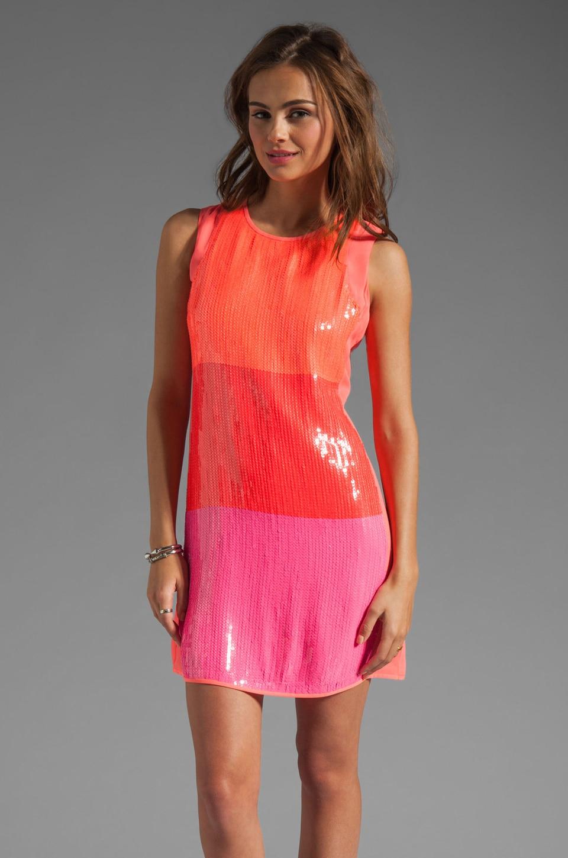 Shoshanna Sequin Najia Dress in Neon Peach