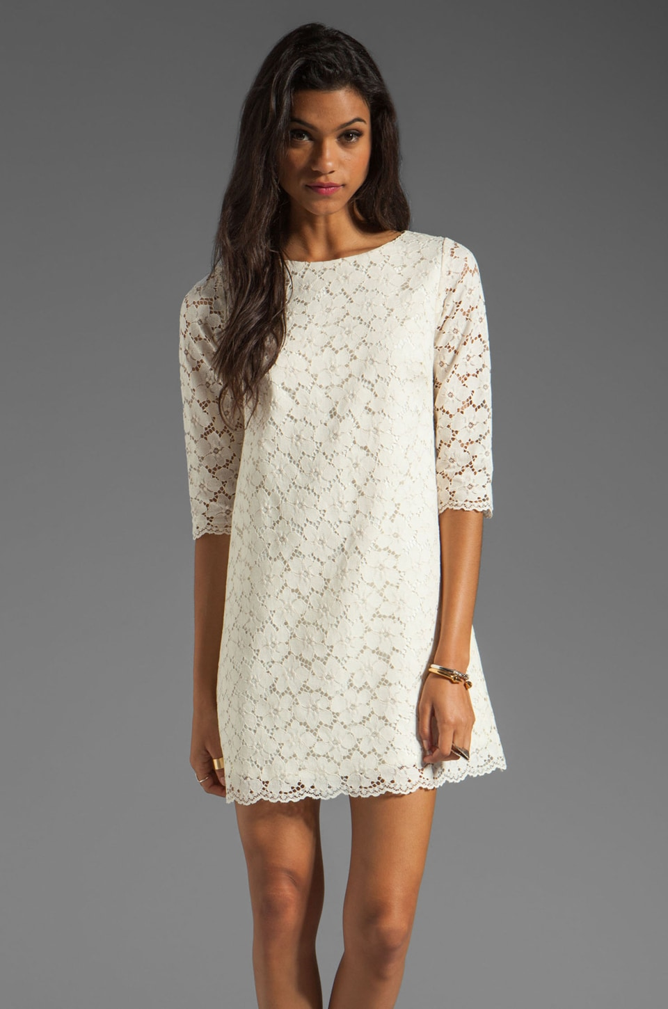 Shoshanna Lace Constance Shift Dress in Ivory