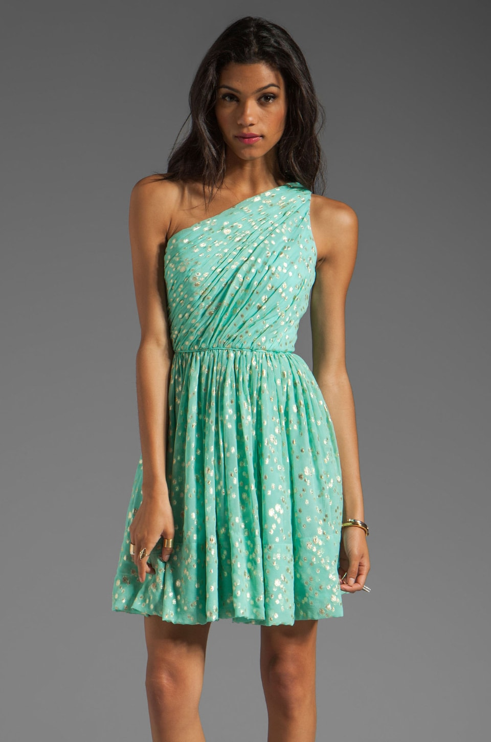 Shoshanna Rayna Dress en Aqua/Gold