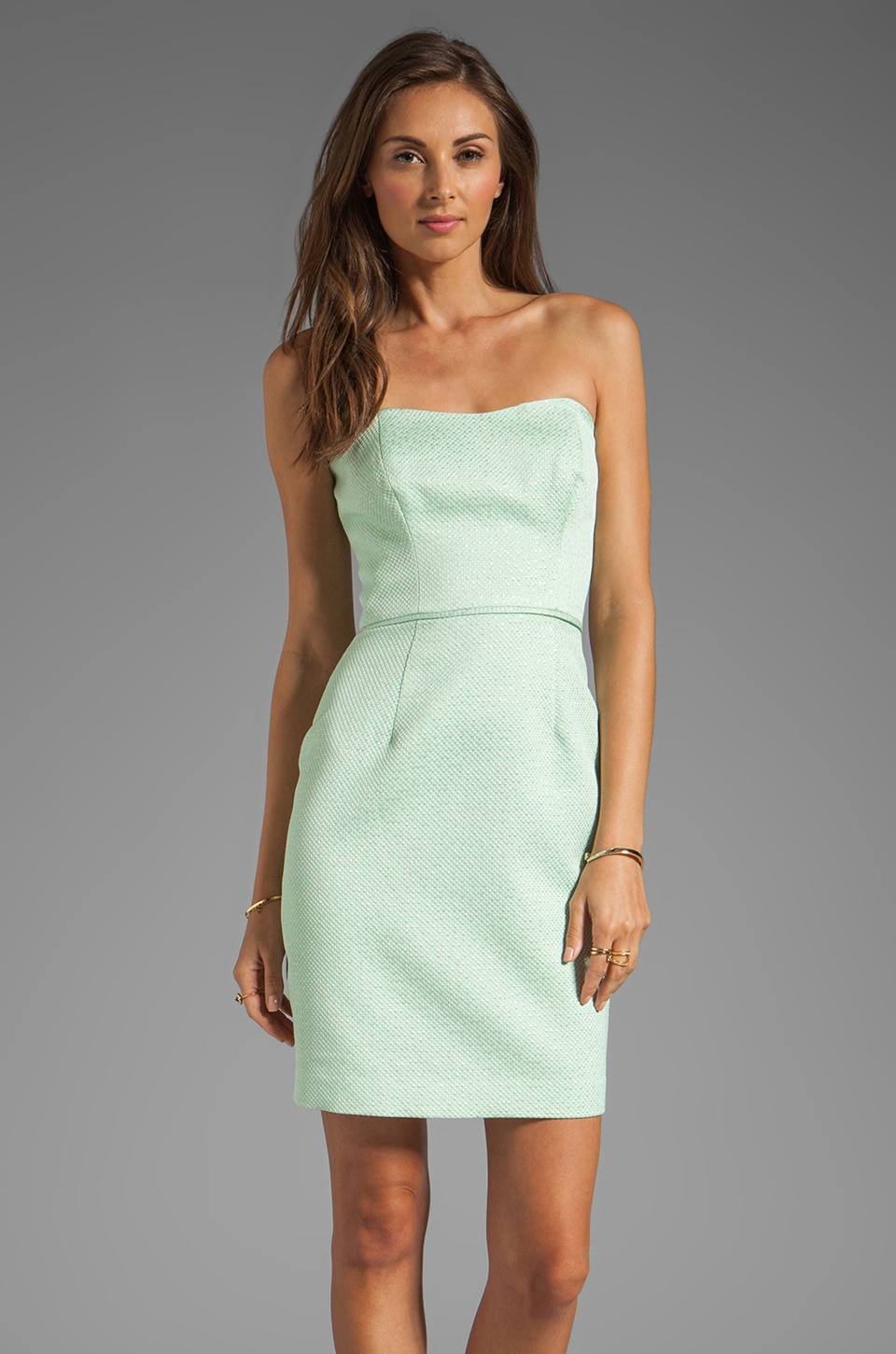 Shoshanna Janie Dress in Mint/Gold