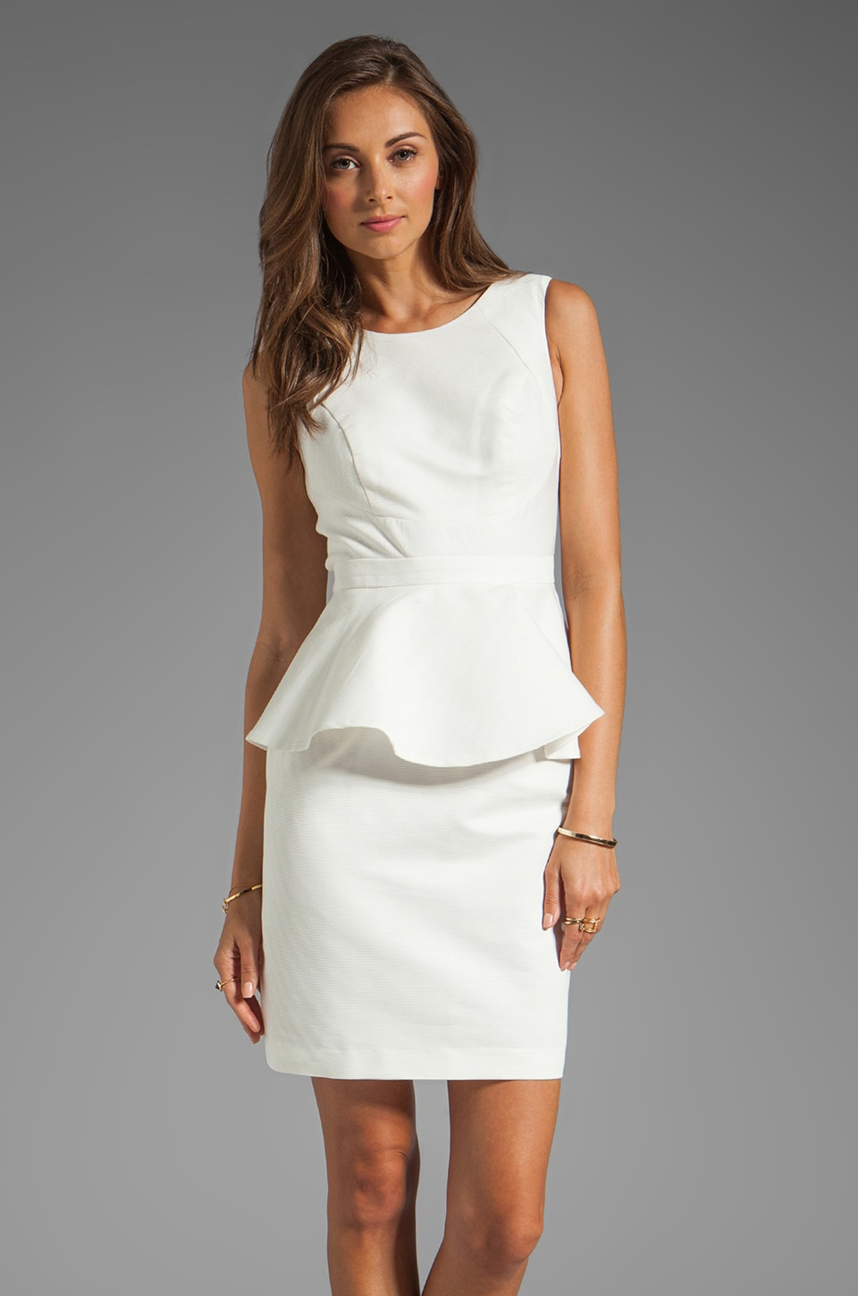 Shoshanna Alexa Peplum Dress in White