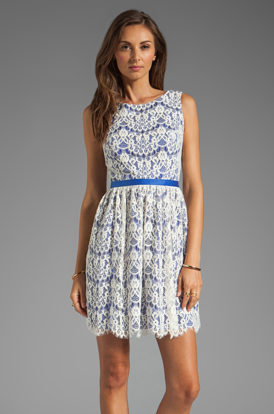 Shoshanna June Lace Dress in Ivory w/ French Blue