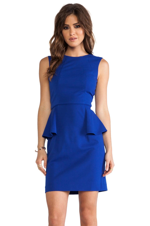 Shoshanna Italian Ponte Alessandra Peplum Dress in Cobalt