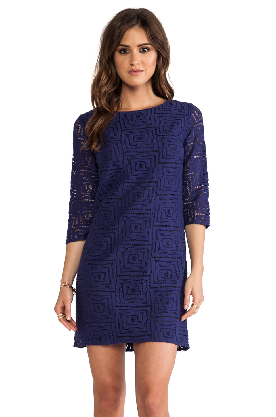 Shoshanna Geo Lace Constance Dress in Navy/Black
