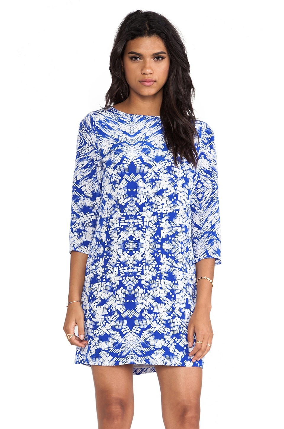 Shoshanna Kaleidoscope Print Meira Dress in Cobalt & White