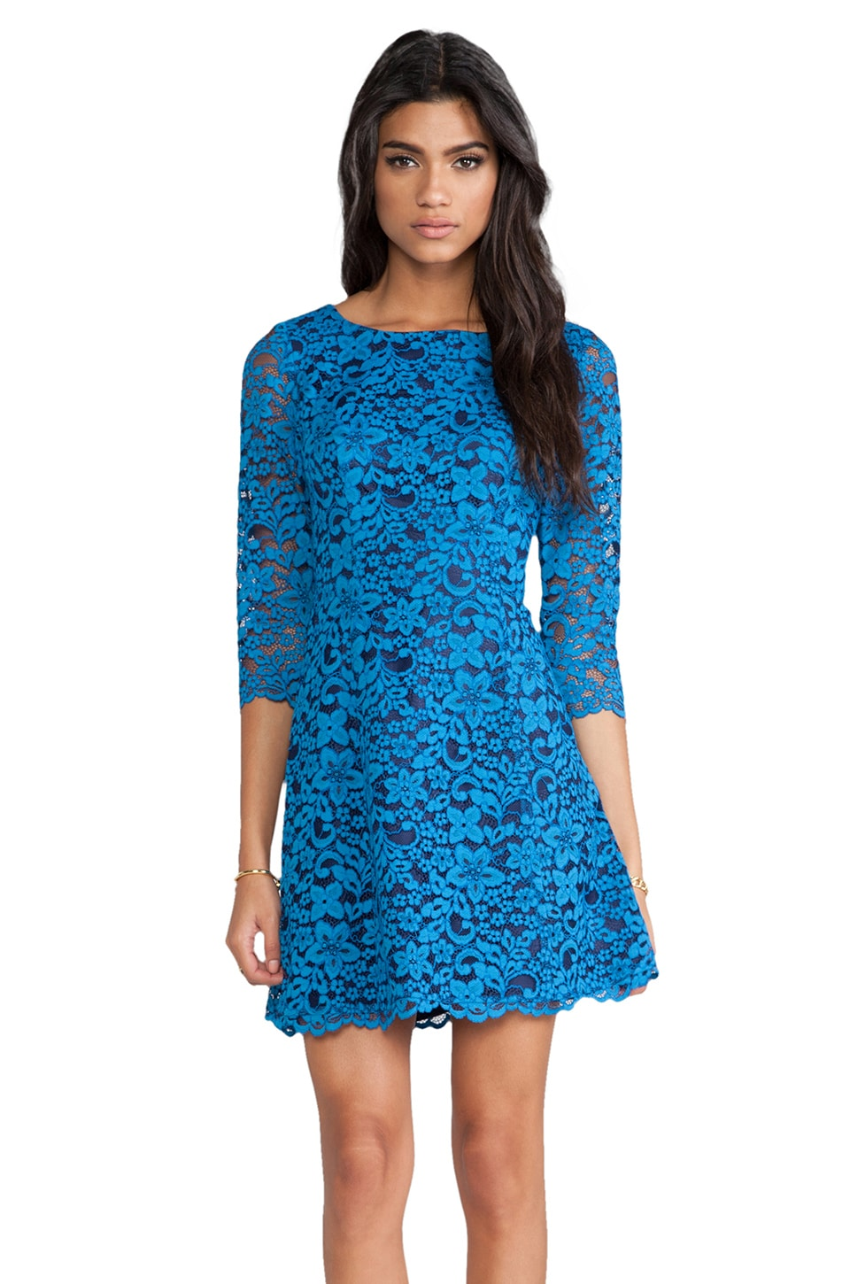 Shoshanna Celestial Lace Miranda Dress in Celestial Blue/Midnight