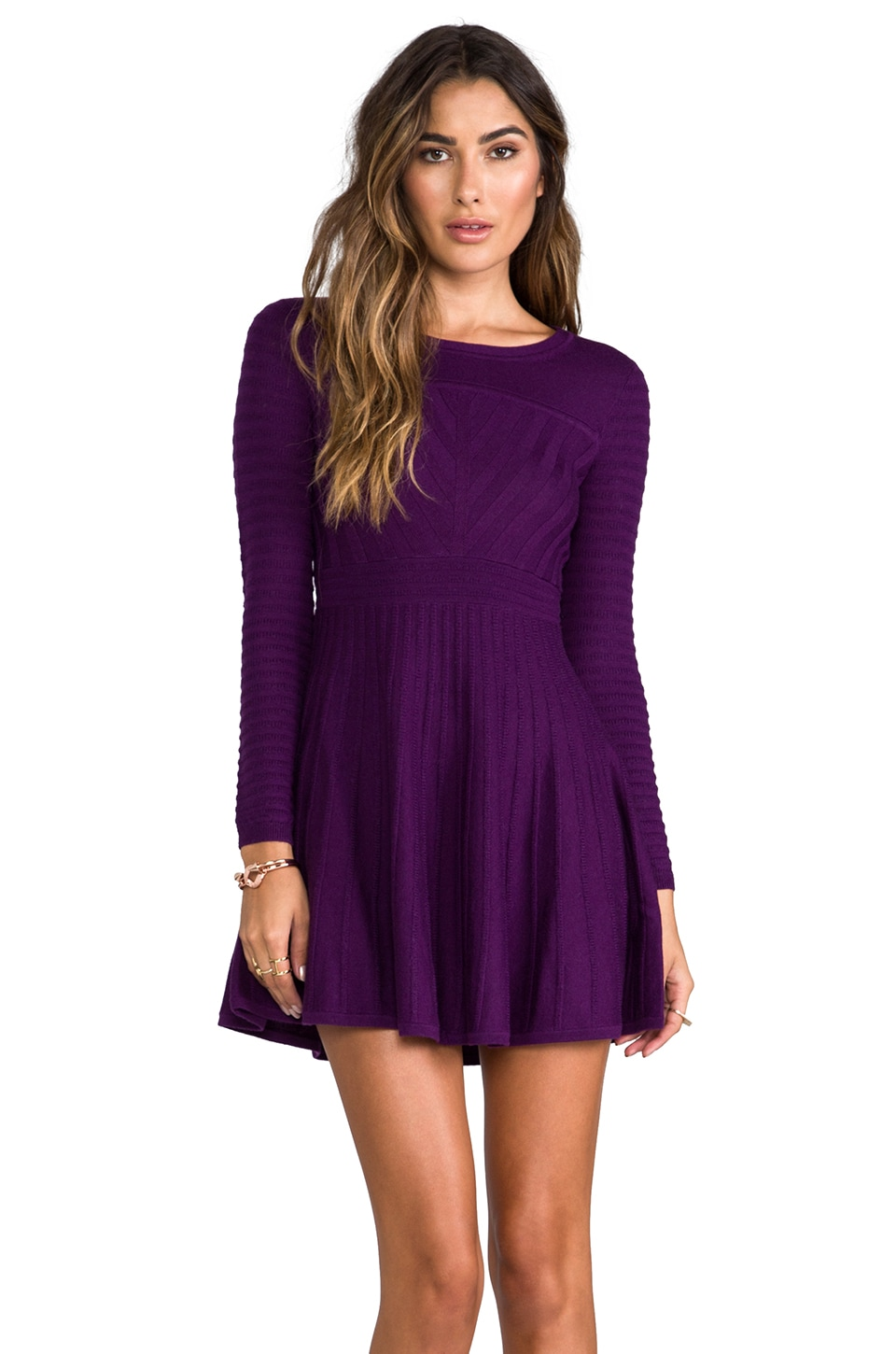 Shoshanna 3/4 Sleeve Margot Sweater Dress in Amethyst