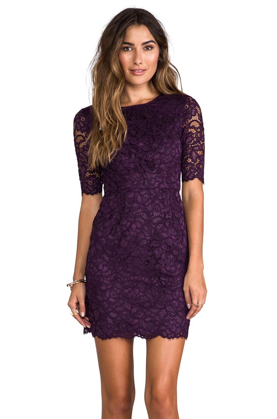 dd048f96e5 Shoshanna Magnolia Lace Davina Dress in Dark Violet