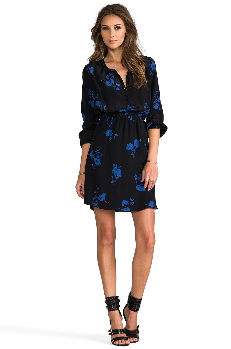Shoshanna Oakes Garden Print Mirabel Dress in Black/Denim Blue