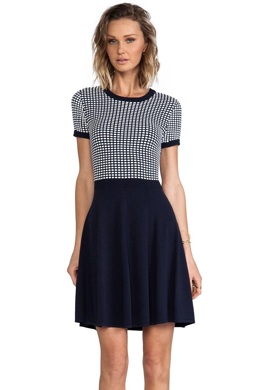 Shoshanna Silk Squares Hattie Sweater Dress in Ink