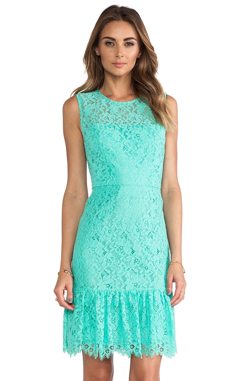 Shoshanna Lace Dress in Aquamarine