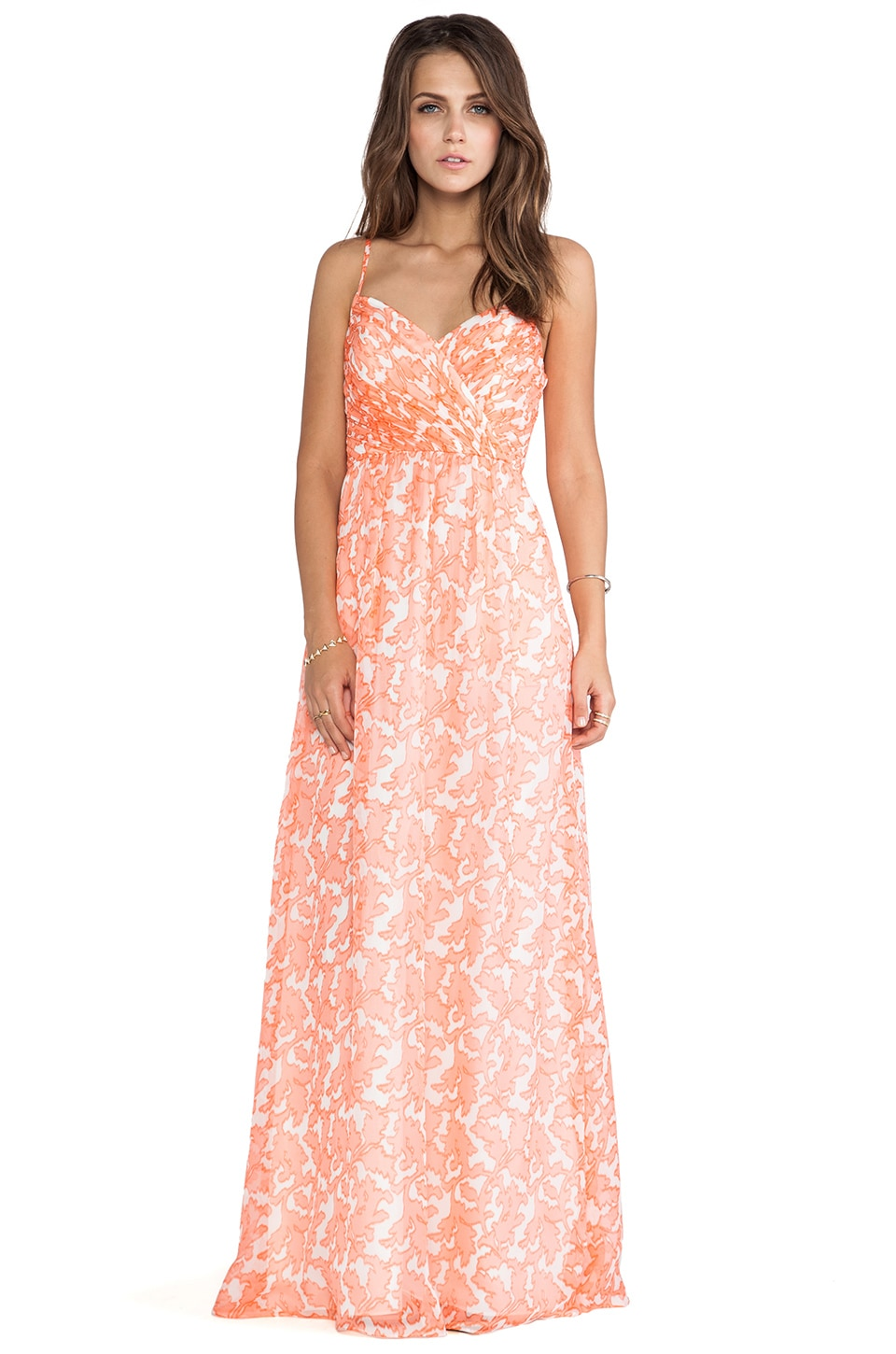 Shoshanna Coral Reef Chiffon Maxi Dress in Coral Multi