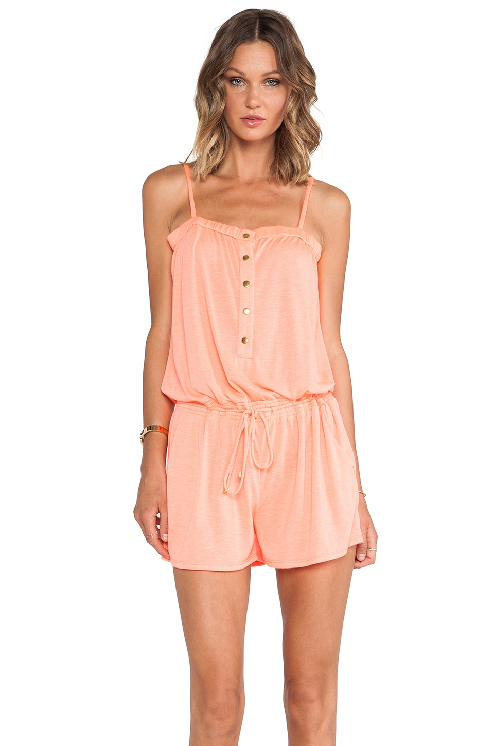 Shoshanna Solid Jersey Romper in Neon Coral