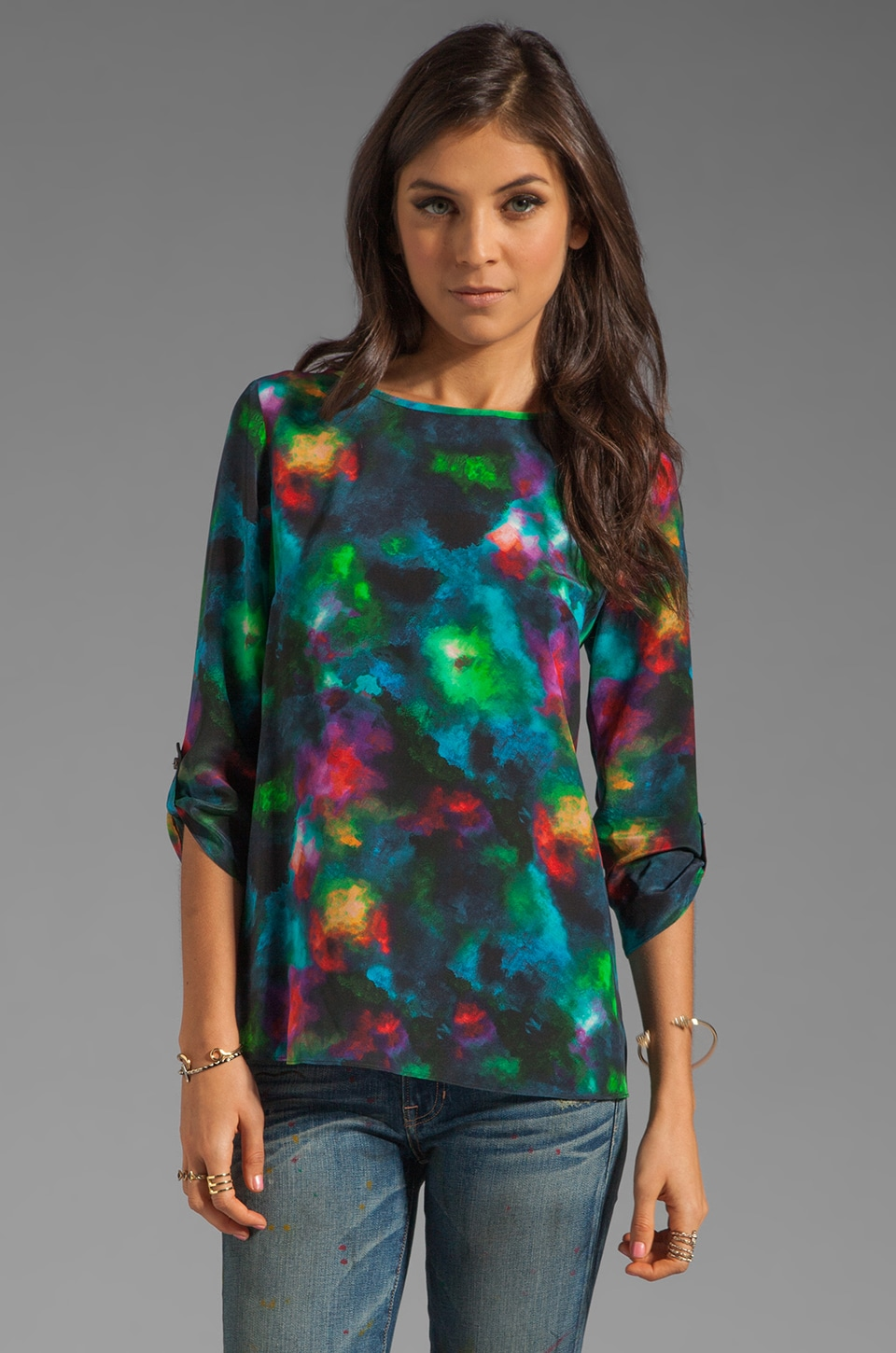 Shoshanna Celestial Watercolor James Blouse in Twilight Multi