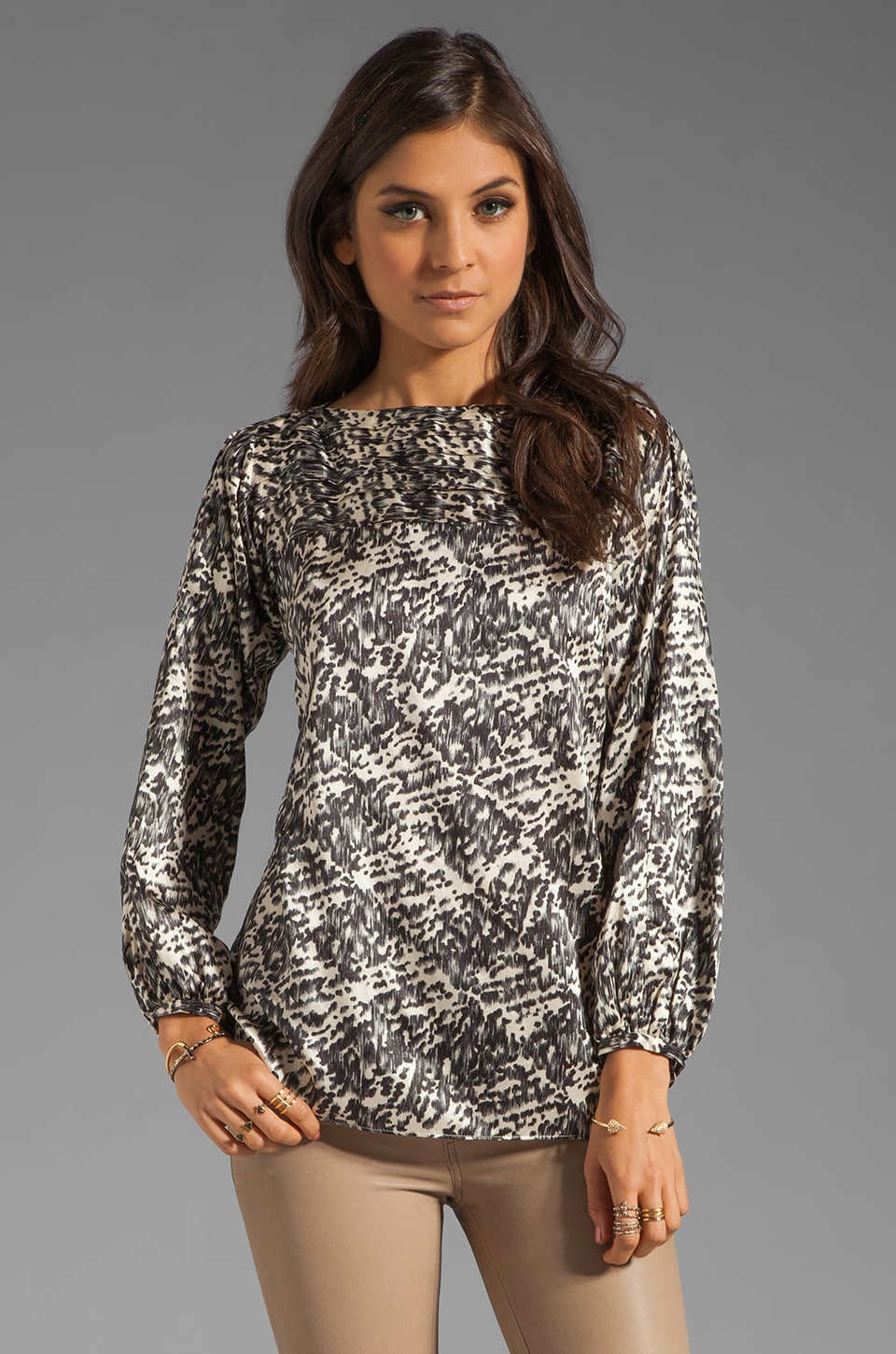 Shoshanna Winter Park Print Aliza Blouse in Winter White/Black
