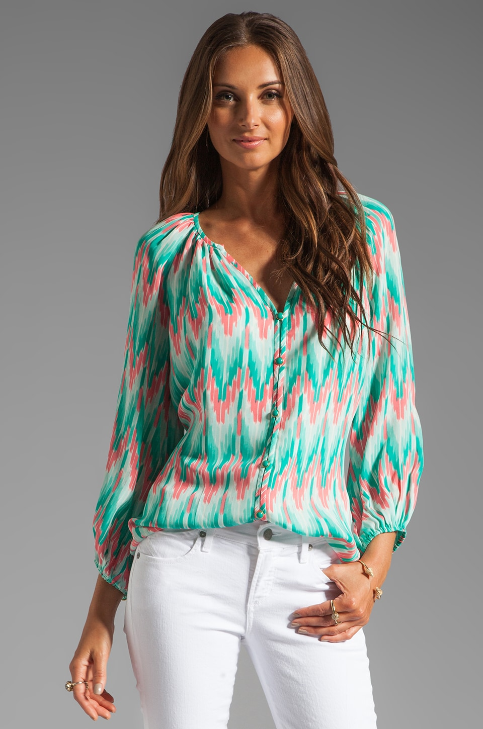 Shoshanna Renee Blouse in Cascade Ikat