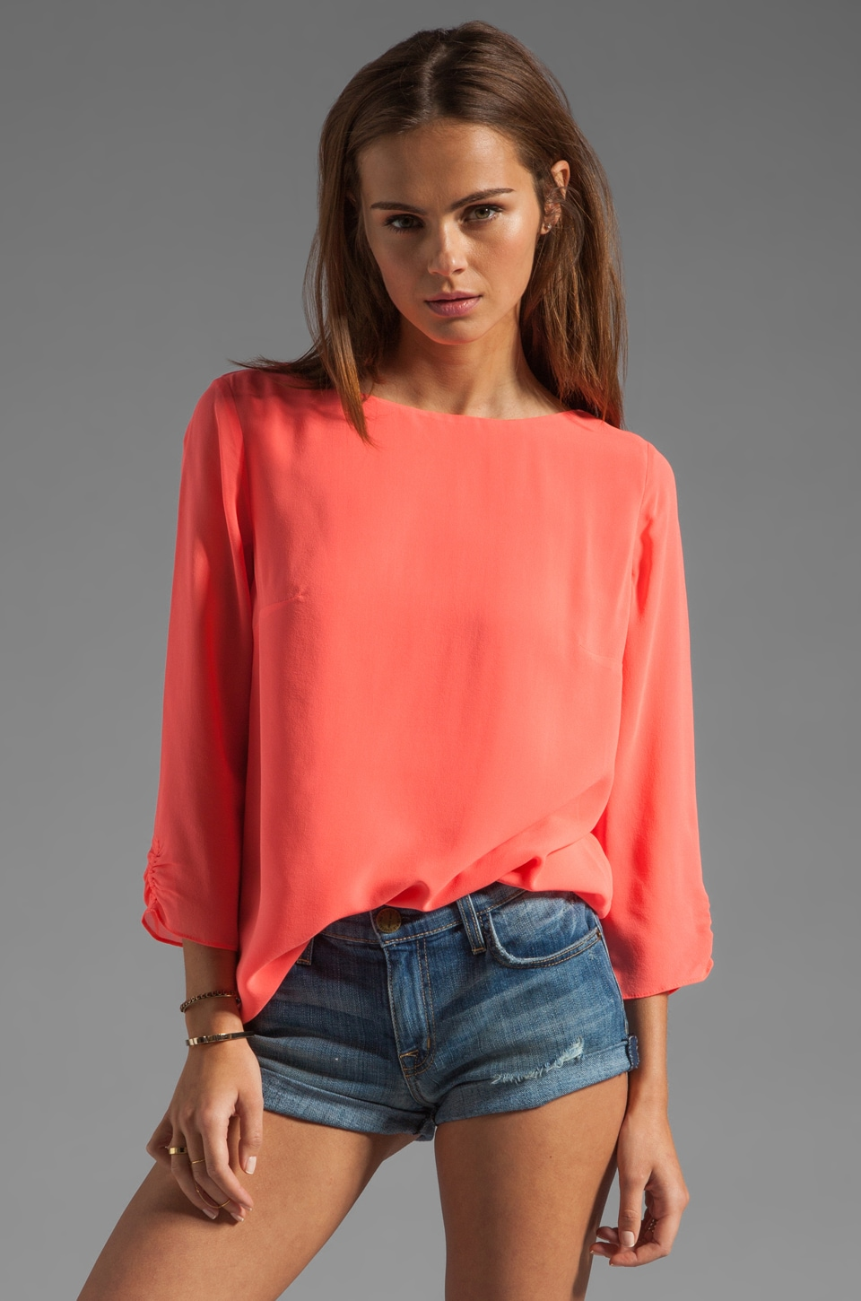 Shoshanna Tara Blouse in Neon Peach