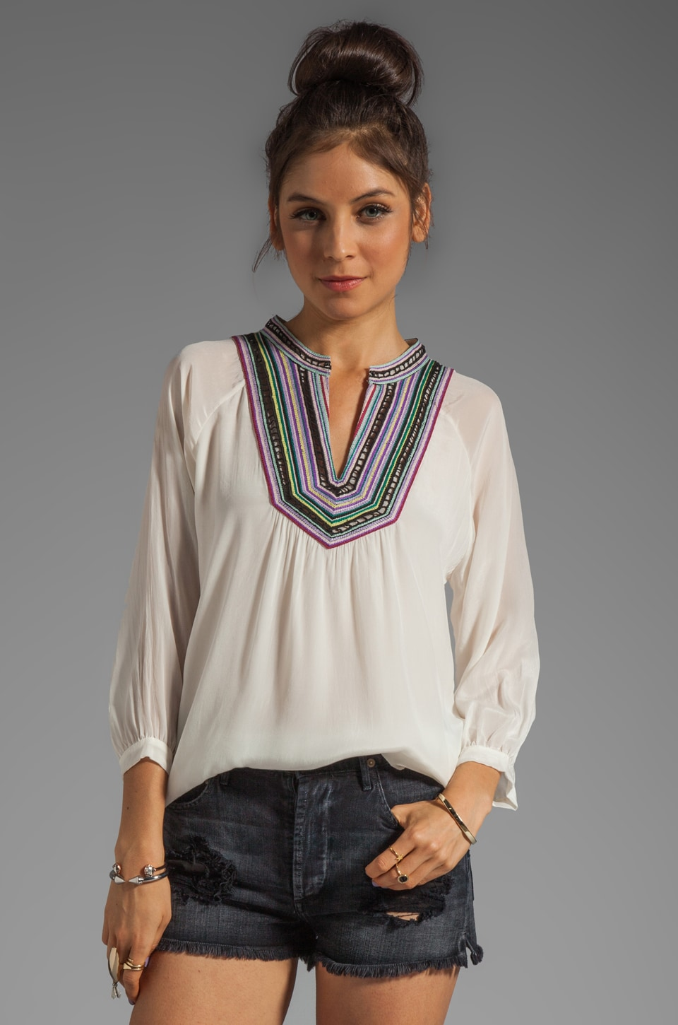 Shoshanna Embroidered Mona Blouse in Ivory