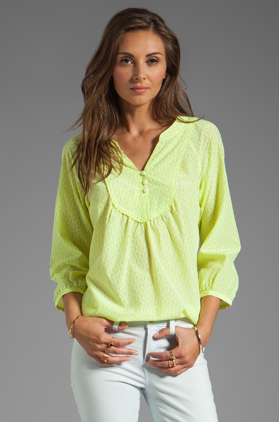 Shoshanna Mona Blouse in Neon Yellow Multi