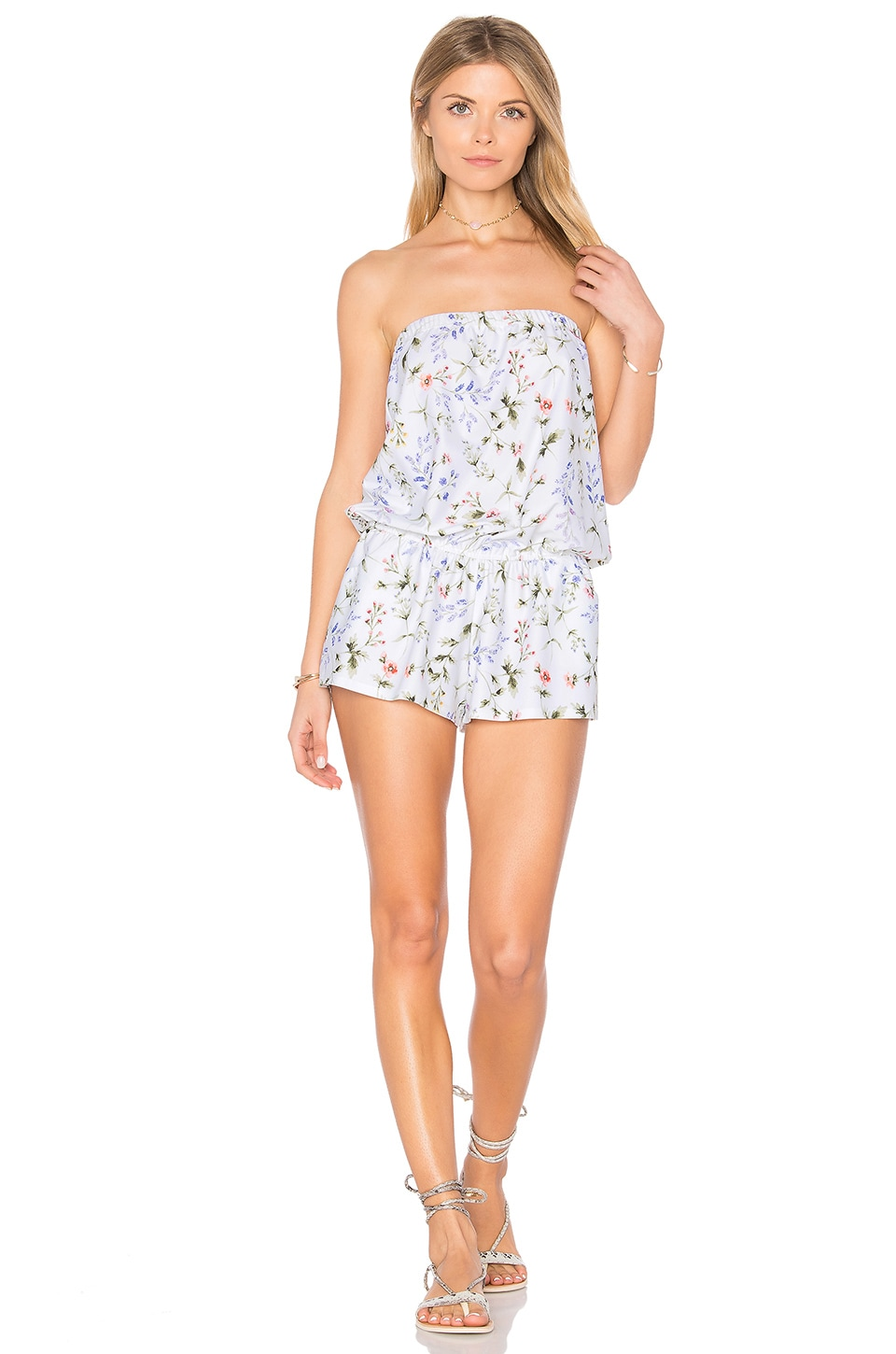 Shoshanna Botanical Floral Strapless Romper in White Multi