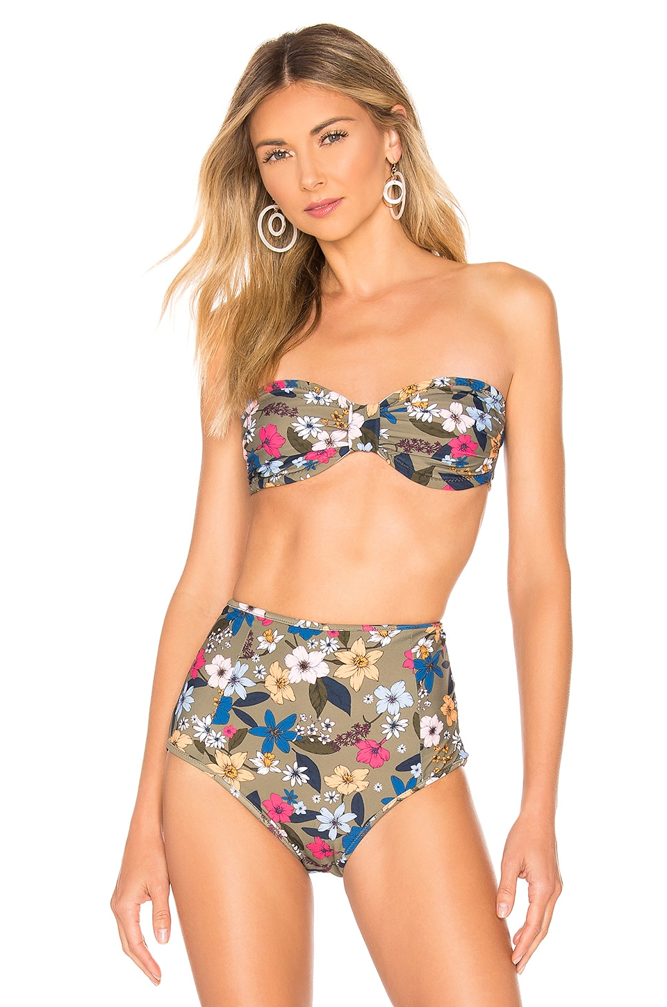 Shoshanna Knot Front Bandeau in Punchy Floral