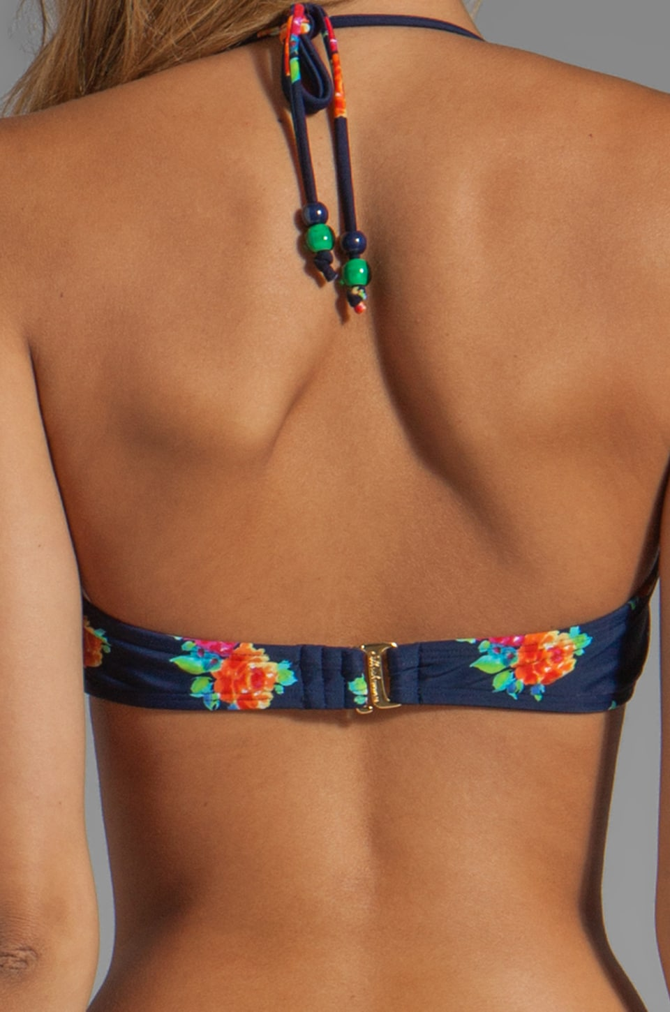 Shoshanna Bow Halter in Navy Multi
