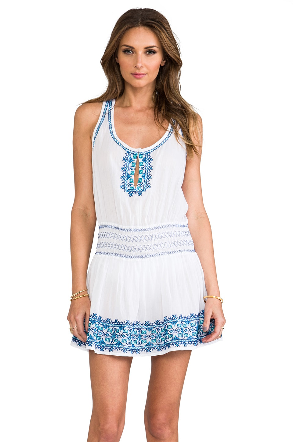Shoshanna Santorini Embroidery Dress in White
