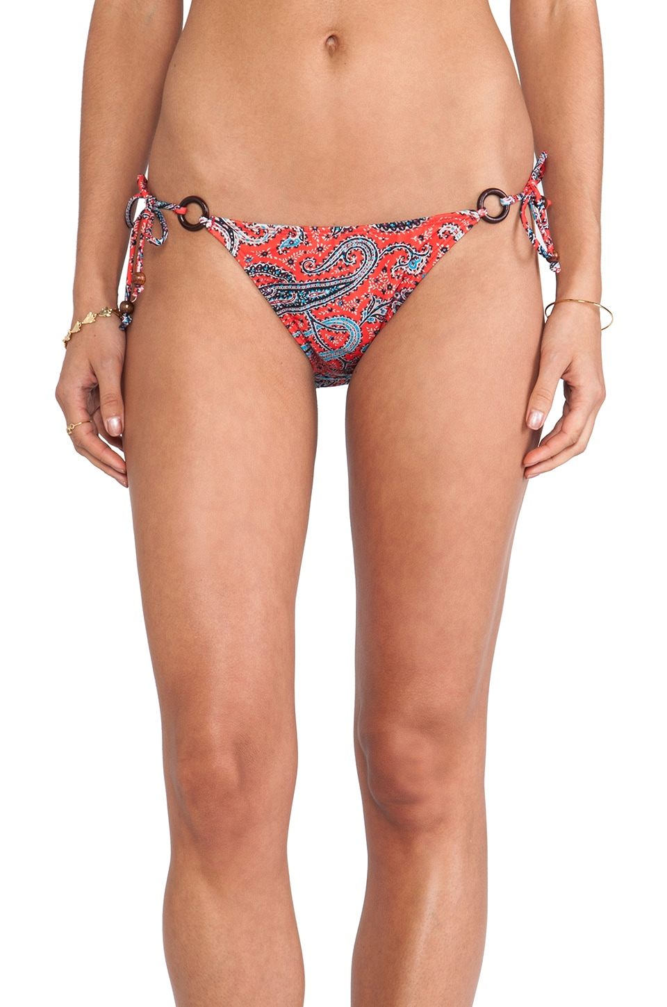 Shoshanna Ring String Bikini Bottom in Portland Paisley